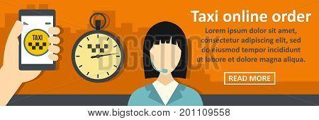 Taxi online order banner horizontal concept. Flat illustration of taxi online order banner horizontal vector concept for web