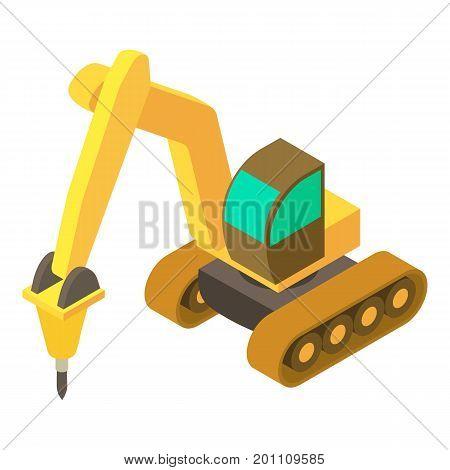 Yellow excavator hammer icon. Isometric illustration of yellow excavator hammer vector icon for web