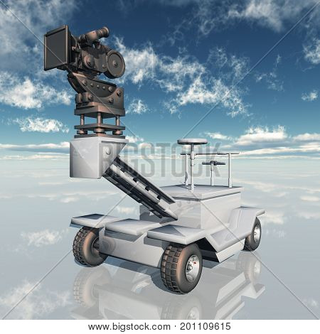 Computer generated 3D illustration with a 35mm movie camera dolly