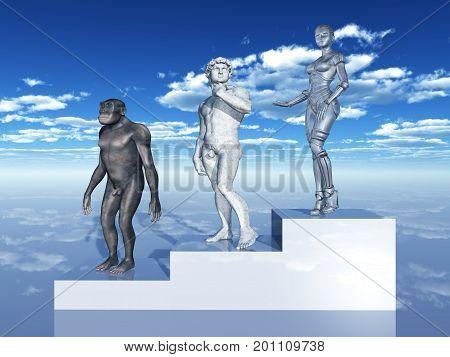 Computer generated 3D illustration with homo habilis, sculpture and female robot