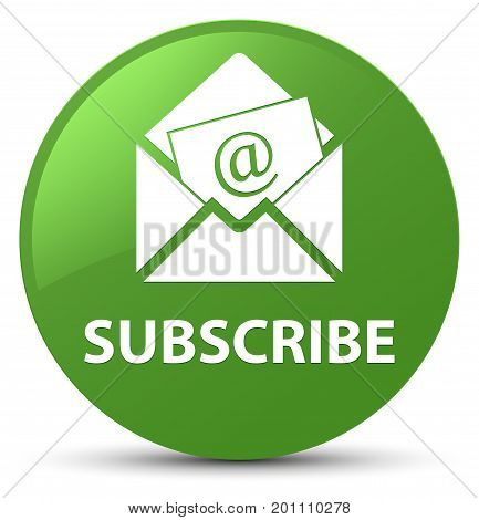 Subscribe (newsletter Email Icon) Soft Green Round Button