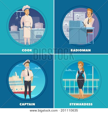 Cruise liner yacht ship crew characters 4 cartoon icons square with captain cook radioman isolated vector illustration