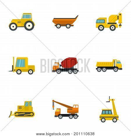 Heavy vehicle icon set. Flat set of 9 heavy vehicle vector icons for web isolated on white background