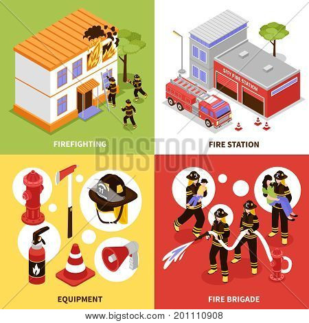 Isometric firefighter 2x2 design concept with firefighting brigade equipment and station isolated on colorful backgrounds 3d vector illustration