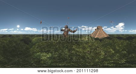 Computer generated 3D illustration with a spherical 360 degrees seamless panorama of giant gorilla, pterosaur Pterodactylus and Mayan temple
