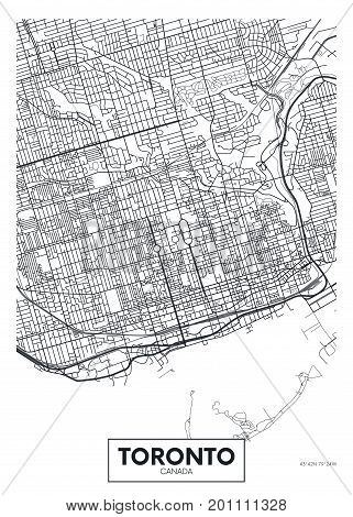 Detailed vector illustration poster city map Toronto