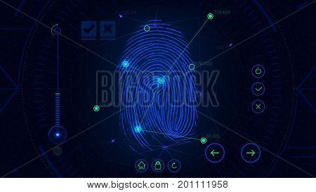 Fingerprint scanning identification system, futuristic sci-fi blue interface, biometric authorization technology