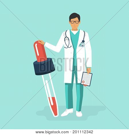 Pipette in hands doctor. Treatment colds. Medicament preparations. Pain killers. Vaccination flu. Vector illustration flat design. Isolated on white background. Doctor in full growth.