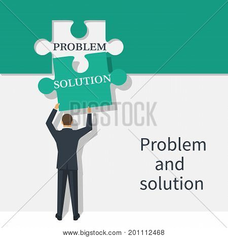 Problem and solution concept. Businessman holding in hand piece of jigsaw puzzle. Business concept. Creative problem solving. Vector illustration flat design. Isolated on white background.
