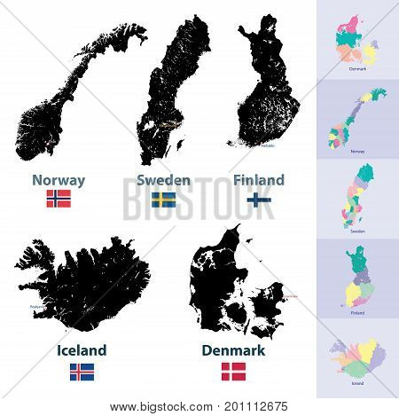 Scandinavian countries vector high detailed isolated maps