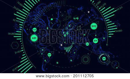 HUD futuristic interface data visualization, Vector world map of world analytics