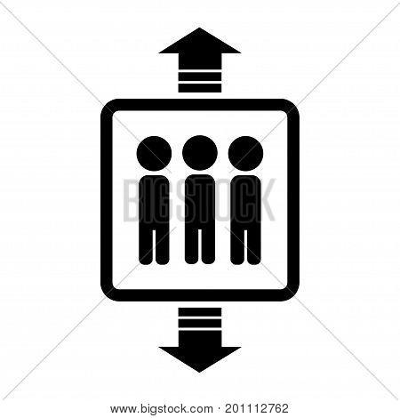 Black elevator icon on white background. Vector illustration.
