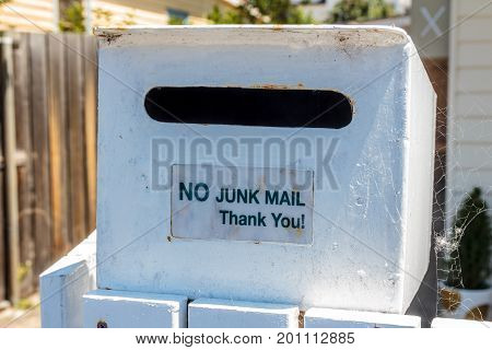 Hobart Tasmania Australia - 0 January 2017: letterbox with no junk mail sticker