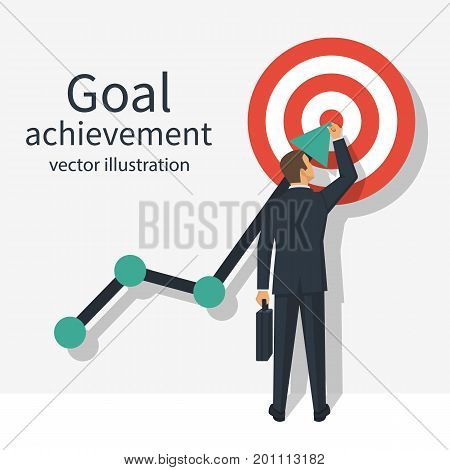Achievement goal concept. Businessman in suit  raises up arrow chart to target. Vector illustration flat design. Isolated on background. Aspiration to victory. Ambition business.