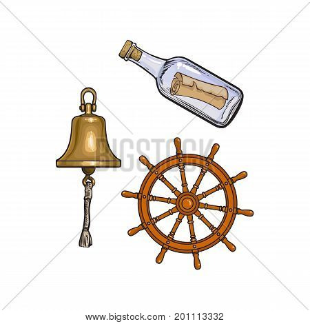 Set of nautical objects - ship bell, steering wheel and message in glass bottle, cartoon vector illustration isolated on white background. Cartoon set of ship bell, steering wheel and message bottle