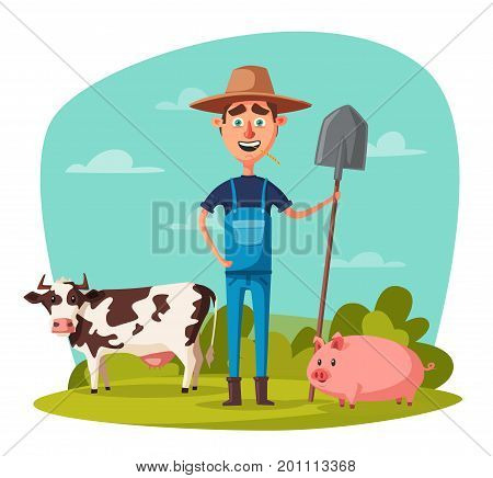Funny farmer. Cartoon vector illustration. Rural man, village or countryside. Old redneck, gardener person. Agriculture and farming.