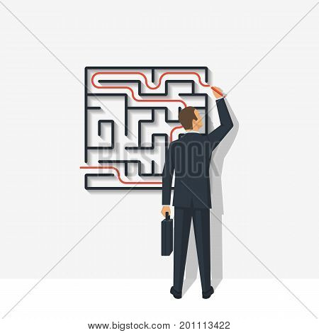 Creative problem solving. Businessman standing about wall drawing exit from labyrinth. Business concept. Choice way. Vector illustration flat design. Isolated on background. Achieving the goal.