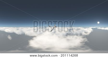 Computer generated 3D illustration with a spherical 360 degrees seamless panorama of a glider over the clouds
