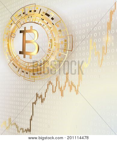 Bitcoin symbol on a bright background.Concept of trading cryptocurrency.