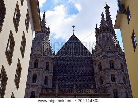 View on St. Stephen's Cathedral (Stephansdom, or Domkirche St. Stephan), the mother church of Roman Catholic Archdiocese of Vienna (Wien) Austria, Stephansplatz.