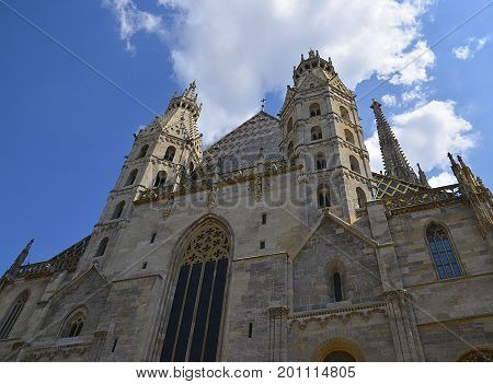 View of St. Stephen's Cathedral (Stephansdom, or Domkirche St. Stephan) the mother church of Roman Catholic Archdiocese of Vienna, Stephansplatz.