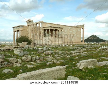 The Erechtheum or the Erechtheion, an Ancient Ionic Temple on the Acropolis of Athens, Greece