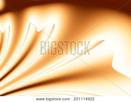 Bright orange modern abstract fractal background illustration with stylized ribbons or draping. Soft smooth elegant art.