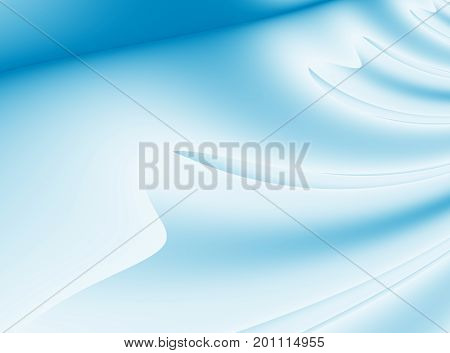 Pretty blue modern abstract fractal background illustration with stylized ribbons petals or draping. Soft smooth elegant art.