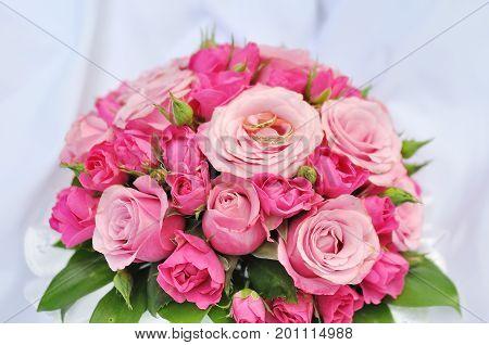 wedding bridal bouquet closeup in happy day