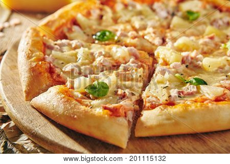Pizza Restaurant Menu - Delicious Fresh Pizza with Chicken and Pineapple. Pizza on Rustic Wooden Table with Ingredients