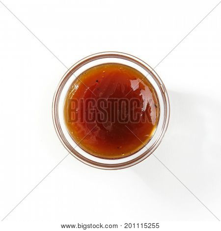 Japanese Unagi Sauce isolate on white background. Top View