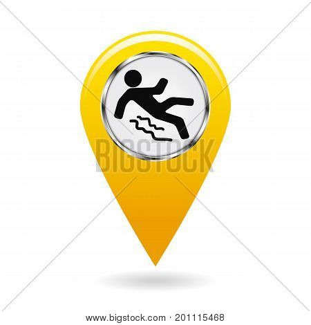 pointer on map. location in area. reference point on plan. industrial design. accident prevention. beware of slippery. isolated object. vector illustration.