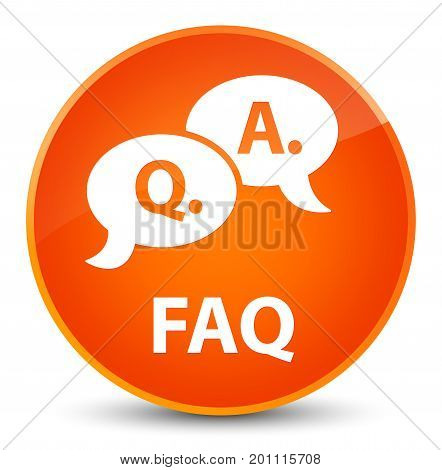 Faq (question Answer Bubble Icon) Elegant Orange Round Button