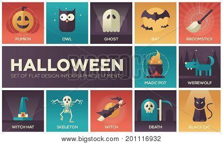 Halloween - set of modern vector flat design icons with gradient colors. Pumpkin, owl, ghost, bat, broomstick, magic pot, werewolf, witch hat, skeleton, death, black cat