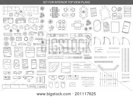 Big set of linear icons for Interior top view plans. Isolated Vector Illustration. Furniture and elements for living room, bedroom, kitchen, office, bathroom. Floor plan. Sketch of furniture