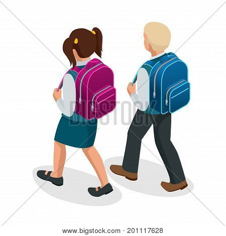Isometric boy and girl back to school concept. Children go to school with their back packs and in school uniforms. Education. Happy to study Vector illustration used for workflow layout, banner, game.