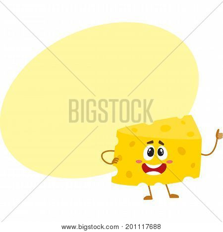 Funny cheese chunk character showing thumb up, good quality concept, cartoon vector illustration with space for text. Funny cheese piece character, mascot with human face giving thumb up