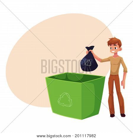 Young man putting garbage bag into trash bin, waste recycling concept, cartoon vector illustration with space for text. Full length portrait of man throwing garbage bag into trash bin