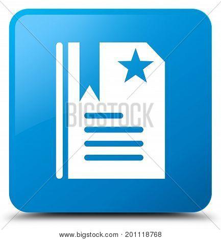 Bookmark Icon Cyan Blue Square Button