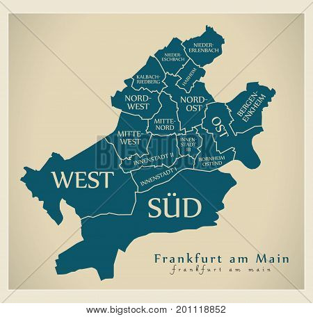 Modern City Map - Frankfurt Am Main City Of Germany With Boroughs And Titles De