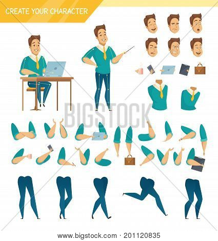 Office male worker character creator constructor elements collection with hands legs heads and accessories isolated vector illustration poster