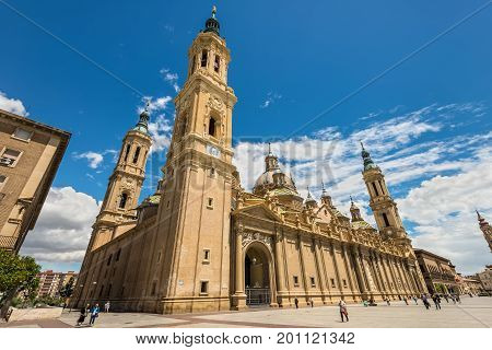 Zaragoza Spain - May 23 2014: Wide-angle view very close to the Cathedral - Basilica of Our Lady of the Pillar (Nuestra Senora del Pilar) in Zaragoza Spain.