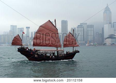 Modern junk boat in Hong Kong China