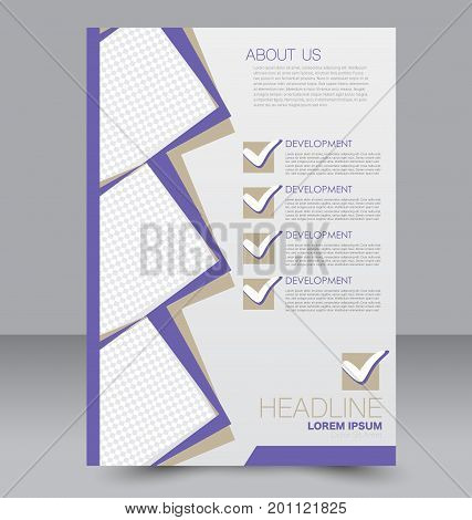 Brochure template. Business flyer. Annual report cover. Editable A4 poster for design education, presentation, website, magazine page. Purple color.