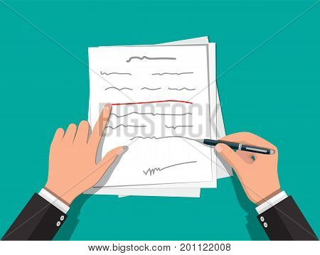 Writer or journalist. Hands of author with pen working on document. Paper draft sheets with text. Vector illustration in flat style