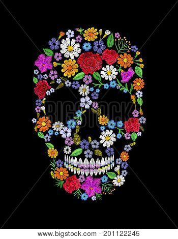 Vintage embroidered flower skull. Muertos Dead Day Fashion design decoration print. Orange marigold daisy chamomile beautiful isolated on black background. Greeting invitation vector illustration art