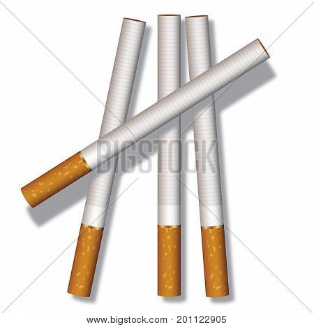 Four cigarettes composed on a white background