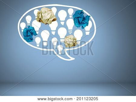 Digital composite of light bulbs chat bubble with crumpled paper balls