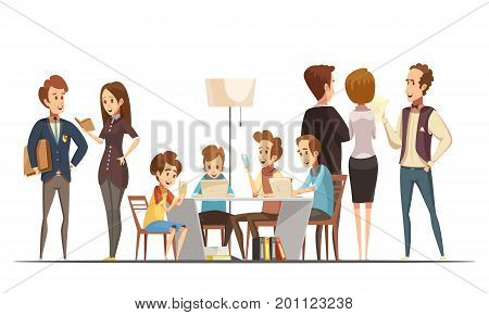 Teenage boys sitting with notebooks laptops and smartphones in educational media center poster retro cartoon vector illustration