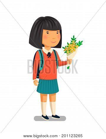 Schoolgirl vector. Happy schoolgirl with backpack holding bouquet of flowers for her teacher. Elementary school student. Flat cartoon illustration. First school year. Back to school. Vector illustration